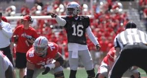OSU redshirt junior quarterback J.T. Barrett (16) calls out a play during the 2016 spring game. Credit: Lantern File Photo