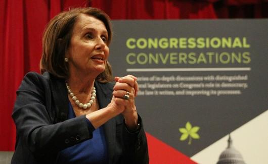 House Minority Leader Nancy Pelosi speaks at Saxbe Auditorium on April 22. Credit: Michael Huson | Campus Editor