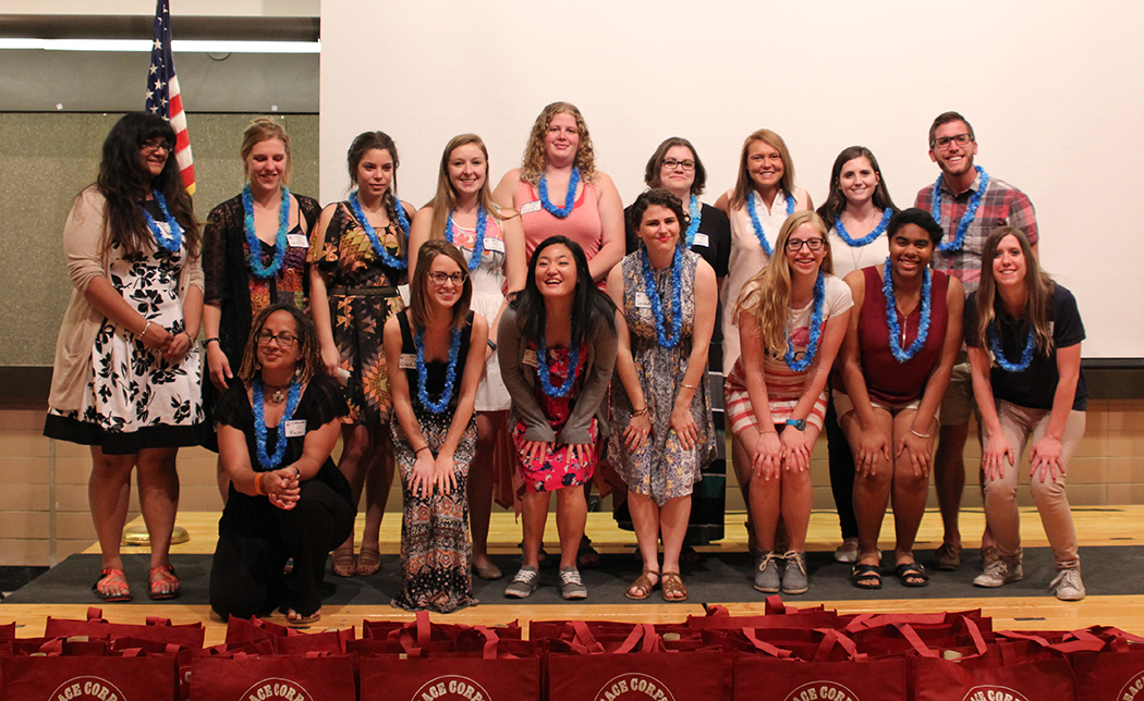The 16 new volunteers honored at the 2016 Ohio State Peace Corps banquet at the Agricultural Administration Building on Fyffe Road in Columbus, Ohio, on April 20. Credit: Michael Ittu   For The Lantern