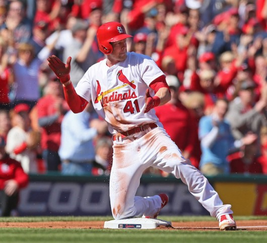 St. Louis Cardinals outfielder Jeremy Hazelbaker (41) reacts after reaching with a triple during the first inning on April 11 at Busch Stadium in St. Louis. Credit: Courtesy of TNS