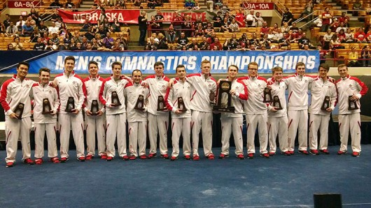 The OSU men's gymnastics team poses for a photo after the NCAA championships on April 16 at St. John Arena. Credit: Luke Swartz | Lantern reporter