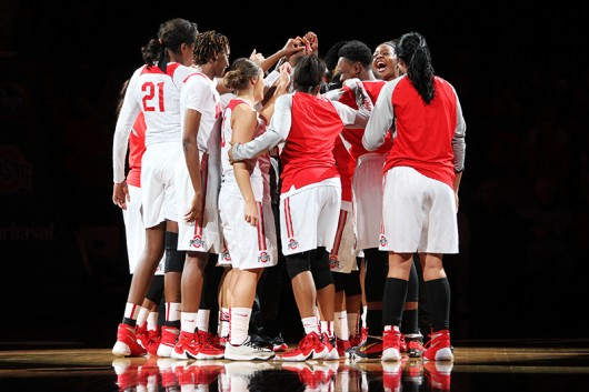 The OSU women's basketball team before a game against Rutgers on Jan. 10 at the Schottenstein Center. Credit: Samantha Hollingshead | Photo Editor