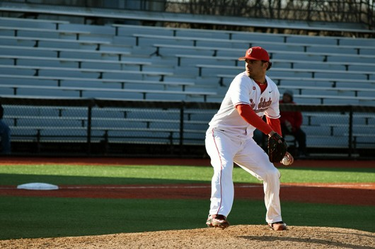 OSU junior left-hander Tanner Tully (16) winds up a pitch during OSU's 12-1 win over Hofstra on March 18 at Bill Davis Stadium. Credit: Giustino Bovenzi | Lantern reporter