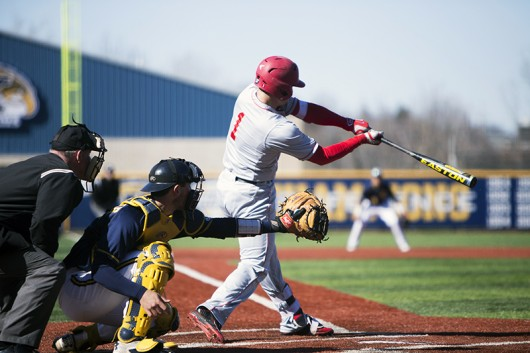 OSU freshman designated hitter Brad Cherry (1) swings at a pitch during a game against Kent State on April 5 in Kent, Ohio. OSU lost, 8-3. Credit: Courtesy of Matt Baker | The Kent Stater