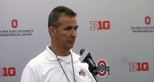 OSU coach Urban Meyer speaks at a press conference on April 11. Credit: Ashley Nelson | Social Media Editor