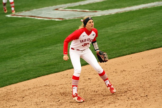 OSU redshirt senior shortstop Maddy McIntyre (30) during a game against Penn State on April 6 at Buckeye Field. Credit: Samantha Hollingshead | Photo Editor
