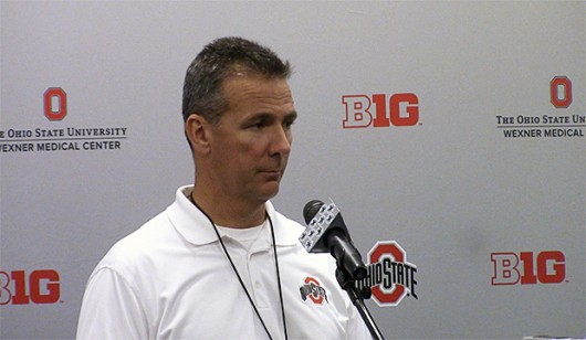 Coach Urban Meyer speaks at a press conference on April 11. Credit: Ashley Nelson | Social Media Editor