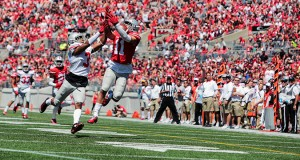 OSU freshman wide receiver Austin Mack (11) attempts to catch the ball during the  spring game on April 16 at Ohio Stadium. Credit: Lantern File Photo