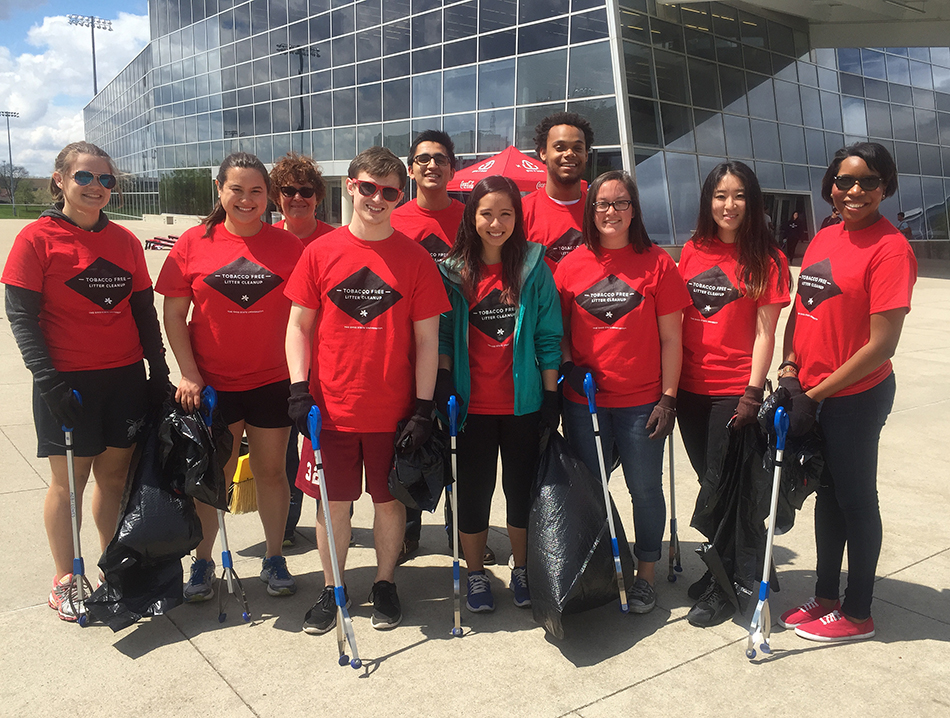 Ohio State student volunteers at the RPAC before a cigarette butt cleanup on campus on April 1. Credit: Courtesy of Alex Ede