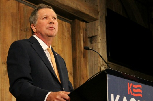 Ohio Gov. John Kasich announces he will suspend his run for president during a press conference at Franklin Park Conservatory and Botanical Gardens on May 4. Credit: Michael Huson | Campus Editor