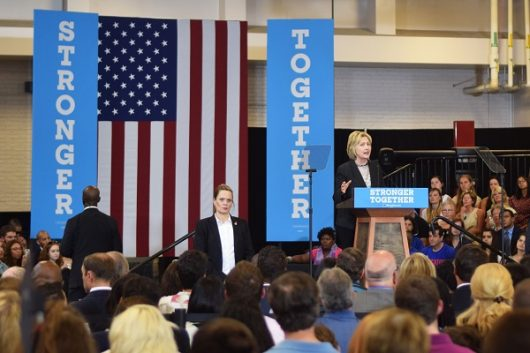 Hillary Clinton delivers a speech at the Fort Hayes Metropolitan Education Center on Tuesday June 21. The event was her first stop in Ohio as the presumptive Democratic nominee. Credit: Sheridan Hendrix   For The Lantern