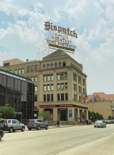 The buidling housing the old Columbus Dispatch headquarters, at the iconic Dispatch sign, sits at 34 S. Third St. Credit: Nick Roll | Campus Editor