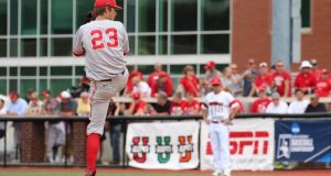 Ohio State starting pitcher John Havird (23) throws in NCAA tournament game versus Louisville on June 4. Courtesy: OSU Athletics