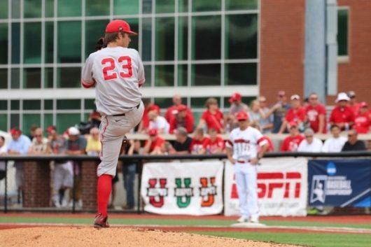 Ohio State starting pitcher John Havird (23) throws in NCAA tournament game versus Louisville on June 4. Courtesy: OSU Athletics