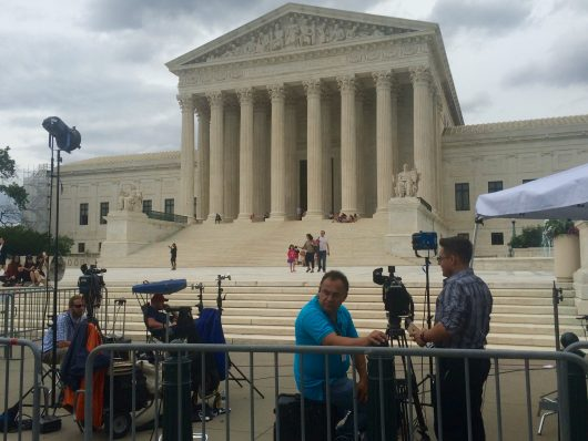 Journalists prepare for broadcasting Thursday afternoon after the Supreme Court issued its ruling on Fisher v. University of Texas. Credit: Nick Roll   Campus Editor
