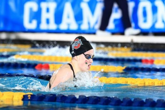 Ohio State junior swimmer Lindsey Clary competes at the Big Ten championships in February, 2016. Credit: OSU Athletics