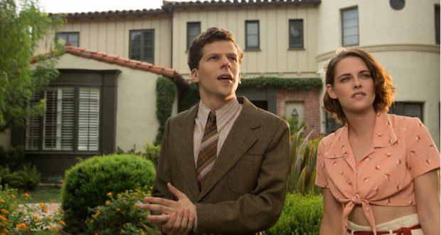 "Jesse Eisenberg and Kristen Stewart in ""Cafe Society."" Credit: Courtesy of TNS"