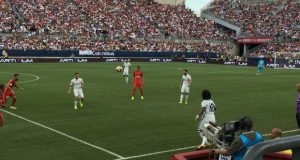 Real Madrid defender Marcelo (12) throws the ball in play to a teammate surrounded by PSG defenders in the International Champions Cup at Ohio Stadium on July 27, 2016. Credit: Jacob Myers | Assistant Sports Editor