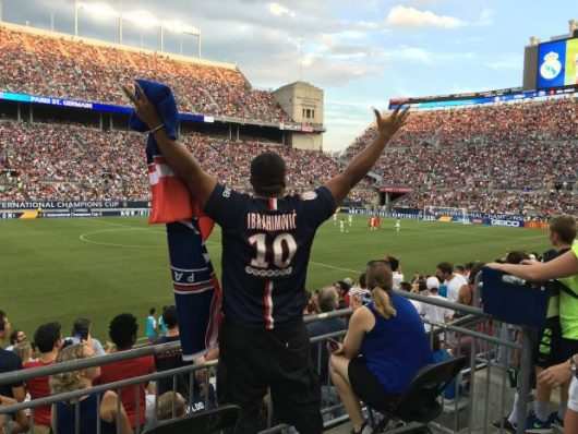 Derevon Guyton cheers on PSG in the International Champions Cup at Ohio Stadium on July 27, 2016. Credit: Jacob Myers | Assistant Sports Editor