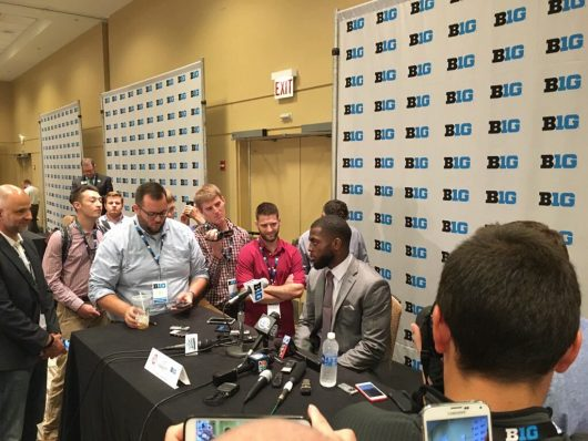 OSU redshirt junior J.T. Barrett speaks with the media at the 2016 Big Ten Media Days. Credit: Courtesy of Jacob Myers | Assistant Sports Editor