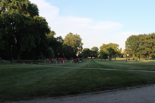 Orientation groups do ice breaker activities on The Oval on July 11, 2016. Credit: Hannah Herner | Arts&Life Editor