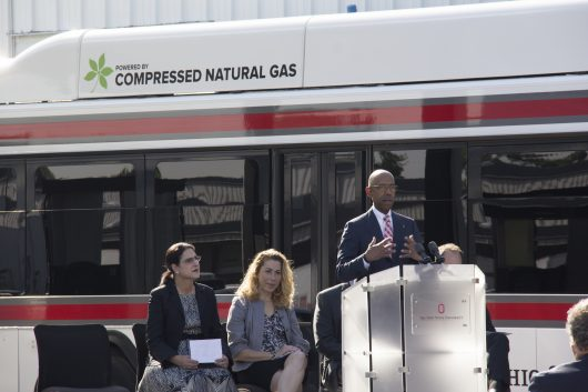 University President Michael Drake speaks at the groundbreaking ceremony for Ohio State's new, $3 million compressed natural gas fueling station. Credit: Courtesy of the Office of Administration and Planning