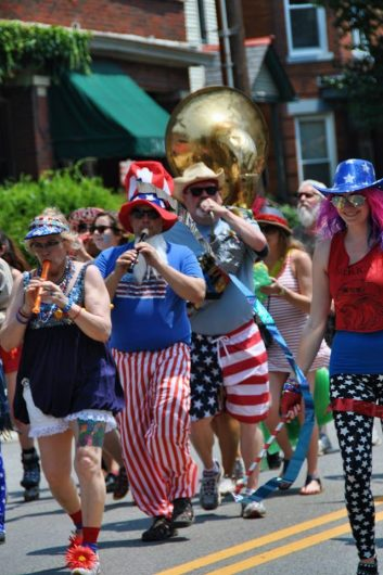 A band of recorders and tubas marches along the parade route for the Doo Dah Parade on July 4, 2015. Credit: Courtesy of Doo Dah Parade