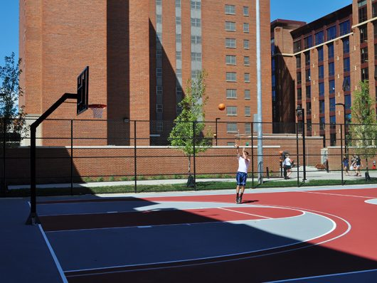 At the new North Recreation Center in Columbus, Ohio, students can practice their basketball skills on the new basketball court which features four full-sized courts. Credit: Nick Roll | Campus Editor