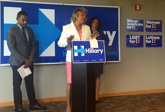 Rep. Joyce Beatty, a Democrat from Ohio's 3rd District, calls out Donald Trump at a press conference at the Hillary Clinton campaign's Columbus office on Aug. 29. Credit: Abby Vesoulis   Lantern Reporter