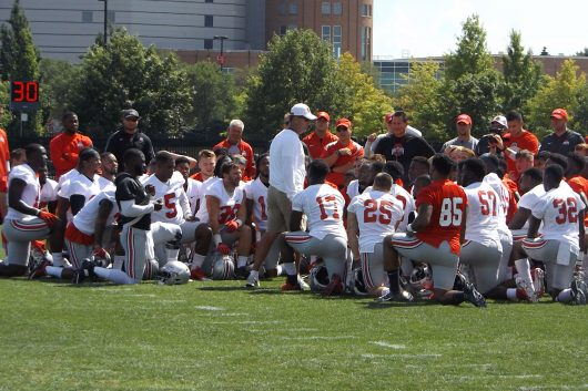 Ohio State coach Urban Meyer addresses team on Day 1 on camp. Credit: Jacob Myers   Assistant Photo Editor
