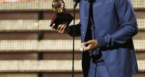 Frank Ocean accepts an award at the 55th Annual Grammy Awards at Staples Center in Los Angeles, California, on Sunday, February 10, 2013. Credit: Courtesy of TNS