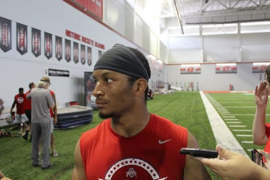 Ohio State junior safety Erick Smith talking to media at the Woody Hayes Athletic Center on Aug. 11. Credit: Jacob Myers | Assistant Sports Editor