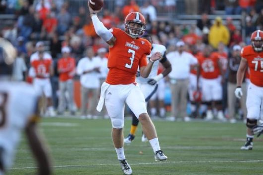 Bowling Green Redshirt senior quarterback James Knapke throws a pass in a game at Doyt L. Perry Stadium. Credit: Bowling Green State University