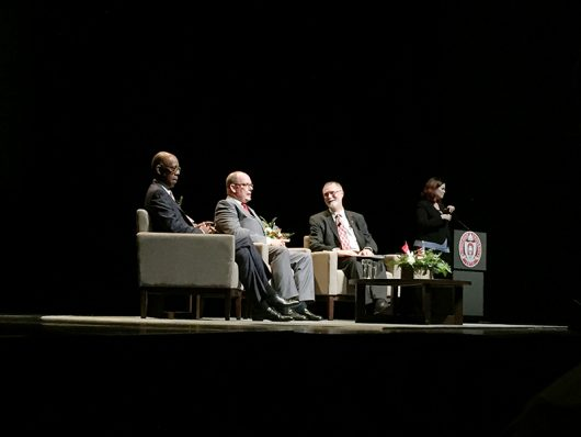 (From left to right) President Michael Drake, Prince Albert II of Monaco and provost Bruce McPheron met at the Mershon Auditorium on August 31 to discuss climate change and it's global impacts on the world. Credit: Phoebe Potiker | Lantern Reporter
