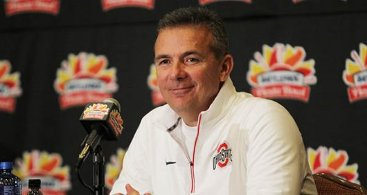 Urban Meyer smiles at a press conference after the Fiesta Bowl. Credit: Lantern File Photo.