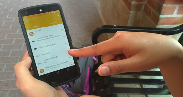 Tapingo is a newly introduced app for students to preorder food at various campus dining locations. Credit: Sara Stacy | Lantern reporter