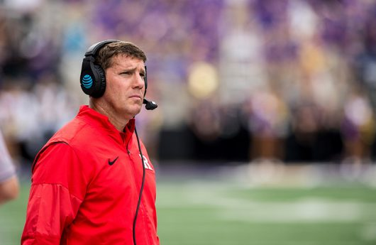 Rutgers coach Chris Ash looks on during a game against the Washington Huskies at Husky Stadium in Seattle, WA on Saturday, Sept. 3. Credit: Courtesy of Rutgers Athletic Communications