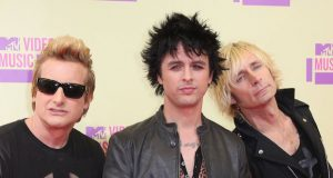 (L-R) Musicians Tre Cool, Billie Joe Armstrong and Mike Dirnt of Green Day arrive at the 2012 'MTV Video Music Awards' held at the Staples Center in Los Angeles, California on September 06, 2012. Photo by Krista Kennell/ABACAUSA.COM