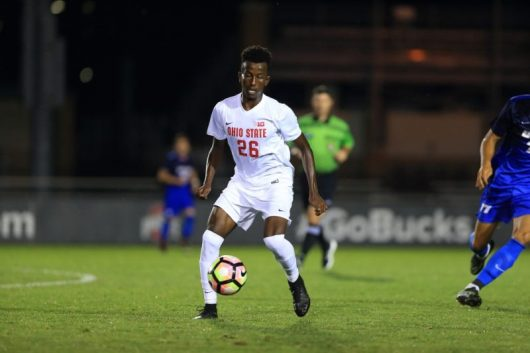 OSU sophomore midfielder Abdi Mohamed dribbles the ball against UC Santa Barbara at Jesse Owens Memorial Stadium. Credit: Ohio State Athletics