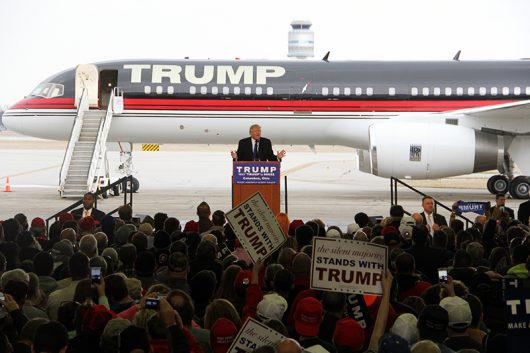 Republican presidential candidate Donald Trump speaks during a rally at the John Glenn Columbus International Airport on March 1. Credit: Lantern File Photo