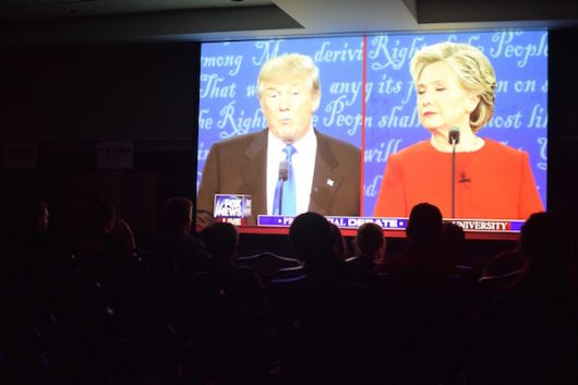 Students watch the first presidential debate at a watch party hosted by College Republicans and Students for Trump in the Ohio Union on Sept. 27. Credit: Sheridan Hendrix | Lantern Reporter