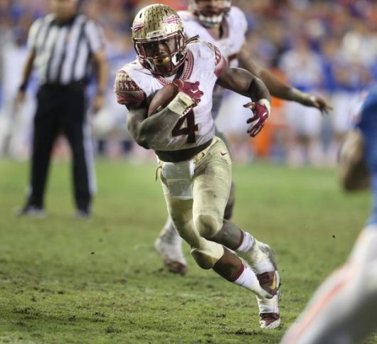 Florida State running back Dalvin Cook (4) runs for a fourth-quarter touchdown against Florida at Ben Hill Griffin Stadium in Gainesville, Fla., on Saturday, Nov. 28, 2015. Florida State won, 27-2. (Stephen M. Dowell/Orlando Sentinel/TNS)