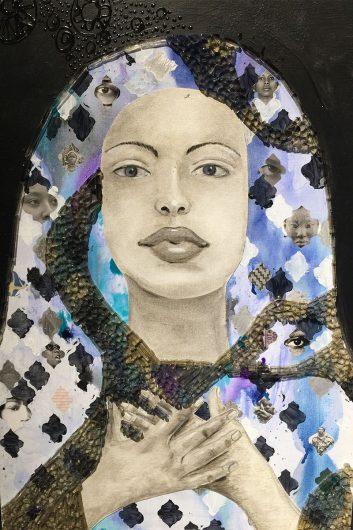 """Woke,"" artwork by April Sunami on display at The Columbus Cultural Arts Center. Credit: Ghezal Barghouty | Lantern Reporter"
