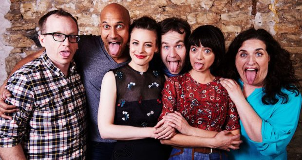 """Chris Gethard, Keegan-Michael Key, Gillian Jacobs, Mike Birbiglia, Katie Micucci and Tami Sagher of the film """"Don't Think Twice."""" Credit: Courtesy of TNS"""