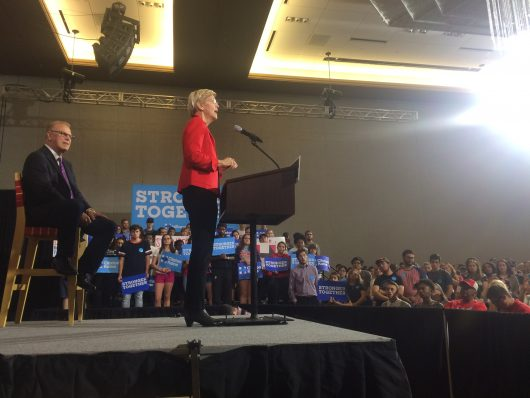 Elizabeth Warren addresses a crowd of about 600 in the Archie Griffin Ballroom at the Ohio Union on Sept. 17. Credit: Nick Roll   Campus Editor