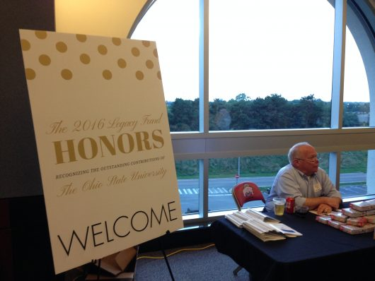 A sign welcomes guests at the gala where Ohio State was given the Legacy Honors Award. Credit: Elizabeth Suarez   Multimedia Editor