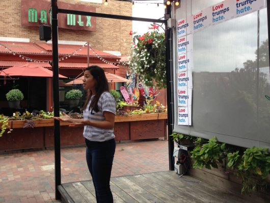 Emmy-award winning actress America Ferrera encourages a crowd at the Gateway development to register to vote.