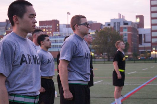 ROTC cadets stand at attention on the turf fields by Lincoln Tower on Sept. 8. Credit: Tim Hayes | For The Lantern