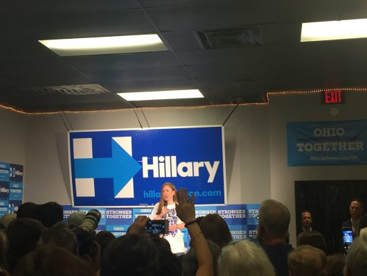 Chelsea Clinton campaigns for her mother, Democratic presidential nominee Hillary Clinton, in Westerville on Sept. 15. Credit: Abby Vesoulis | Lantern Reporter