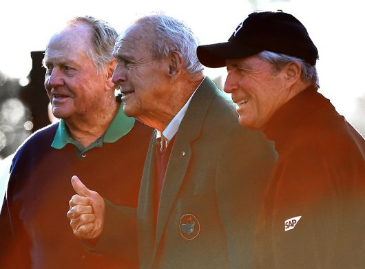 Honorary Starters Jack Nicklaus (left), Arnold Palmer (center) and Gary Player (right) pose for photographs at Augusta National Golf Club on April 7, 2016 Augusta, Ga. Courtesy: TNS